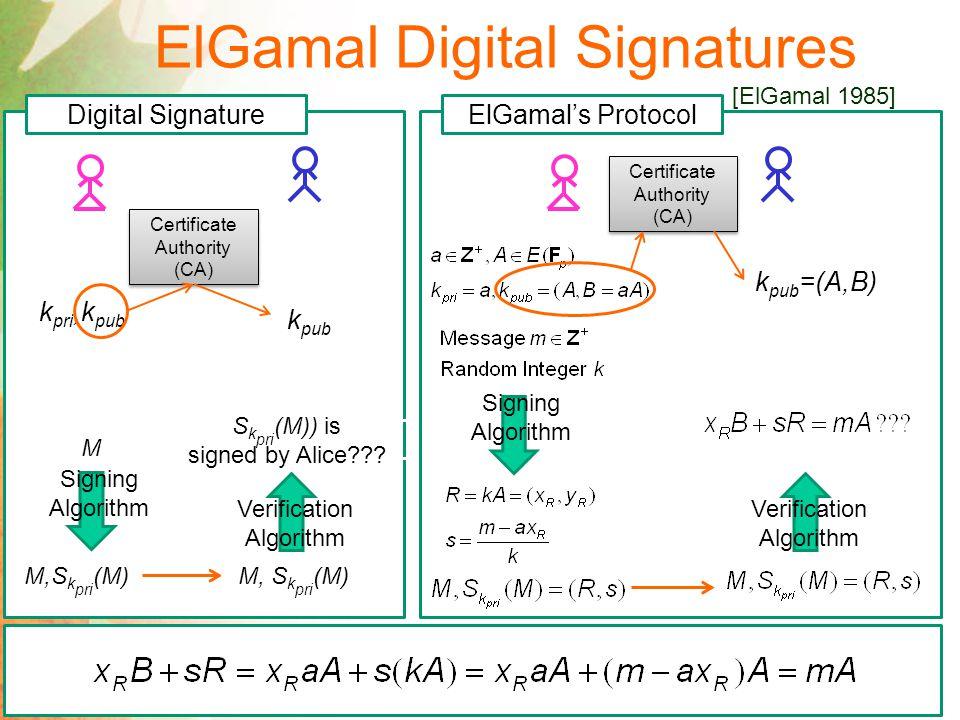 ElGamal Digital Signatures [ElGamal 1985]